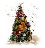 Χριστουγεννιάτικο δέντρο από το καρύκευμα, τις σφαίρες και τους κώνους διακόσμηση Απεικόνιση σχεδίων χεριών Watercolor ελεύθερη απεικόνιση δικαιώματος