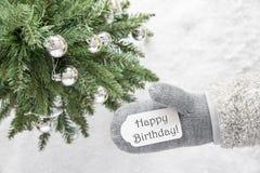 Χριστουγεννιάτικο δέντρο, γάντι, κείμενο χρόνια πολλά Στοκ εικόνα με δικαίωμα ελεύθερης χρήσης