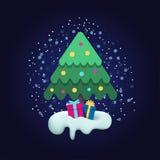 Χριστουγεννιάτικο δέντρο διακοσμήσεων με τη συσκευασία των δώρων Στοκ φωτογραφίες με δικαίωμα ελεύθερης χρήσης