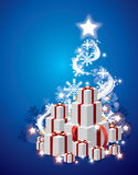 Χριστουγεννιάτικο δέντρο και ανασκόπηση δώρων Στοκ Εικόνες