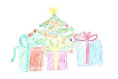 Χριστουγεννιάτικο δέντρο και δώρα στα κιβώτια Στοκ εικόνα με δικαίωμα ελεύθερης χρήσης