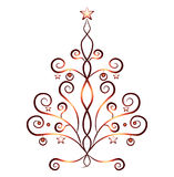 Χριστουγεννιάτικο δέντρο καρτών, κόκκινες διακοσμήσεις Στοκ εικόνες με δικαίωμα ελεύθερης χρήσης