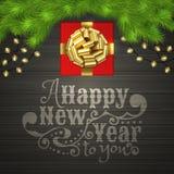 Χριστουγεννιάτικο δέντρο, κιβώτιο δώρων, γιρλάντα, χρυσό τόξο κορδελλών ελεύθερη απεικόνιση δικαιώματος