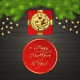 Χριστουγεννιάτικο δέντρο, κιβώτιο δώρων, γιρλάντα, χρυσό τόξο κορδελλών απεικόνιση αποθεμάτων