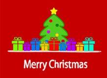 Χριστουγεννιάτικο δέντρο κινούμενων σχεδίων και ζωηρόχρωμα κιβώτια δώρων σε κόκκινο Backgroun απεικόνιση αποθεμάτων