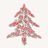 Χριστουγεννιάτικο δέντρο κρέμας και σχέδιο φύλλων διανυσματική απεικόνιση
