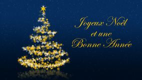 Χριστουγεννιάτικο δέντρο με τα ακτινοβολώντας αστέρια στο μπλε υπόβαθρο, γαλλικοί χαιρετισμοί εποχών Απεικόνιση αποθεμάτων