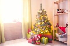 Χριστουγεννιάτικο δέντρο με τα δώρα σε ένα άσπρο δωμάτιο Χριστουγέννων δασικός knurled ευρύς χειμώνας ιχνών πρωινού χιονώδης Στοκ Εικόνες