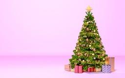 Χριστουγεννιάτικο δέντρο με τα δώρα στο ρόδινο δωμάτιο Νέο έτος, διακοπές ελεύθερη απεικόνιση δικαιώματος