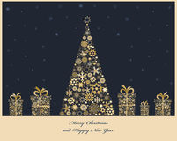 Χριστουγεννιάτικο δέντρο με τα κιβώτια δώρων διανυσματική απεικόνιση