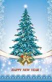 Χριστουγεννιάτικο δέντρο με τα κουδούνια σε ένα υπόβαθρο με snowflakes Στοκ Φωτογραφίες