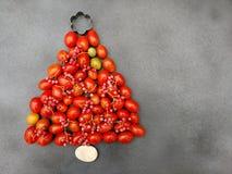 Χριστουγεννιάτικο δέντρο με τις ντομάτες κερασιών σε γκρίζο Στοκ Φωτογραφία