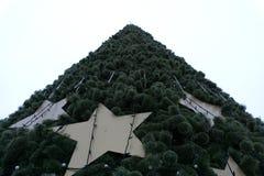 Χριστουγεννιάτικο δέντρο που διακοσμείται με τις φωτεινές ζωηρόχρωμες διακοσμήσεις έξω στοκ εικόνες