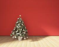 Χριστουγεννιάτικο δέντρο σε ένα κόκκινο Στοκ Εικόνες
