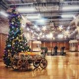 Χριστουγεννιάτικο δέντρο σε μια αίθουσα στοκ εικόνες