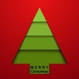 Χριστουγεννιάτικο δέντρο στην κόκκινη ανασκόπηση Στοκ Εικόνες