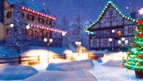 Χριστουγεννιάτικο δέντρο στον άνετο δήμο στη χειμερινή νύχτα ελεύθερη απεικόνιση δικαιώματος