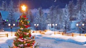 Χριστουγεννιάτικο δέντρο στο αλπικό χωριό στη νύχτα χιονοπτώσεων διανυσματική απεικόνιση