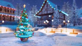 Χριστουγεννιάτικο δέντρο στο τετράγωνο δήμων στη χιονώδη χειμερινή νύχτα ελεύθερη απεικόνιση δικαιώματος