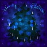 Χριστουγεννιάτικο δέντρο στο υπόβαθρο με το bokeh στοκ εικόνα