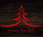 Χριστουγεννιάτικο δέντρο της κόκκινης κορδέλλας Διάνυσμα στο ξύλινο υπόβαθρο χαιρετήστε απεικόνιση αποθεμάτων