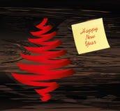 Χριστουγεννιάτικο δέντρο της κόκκινης κορδέλλας Κίτρινο φύλλο του εγγράφου για τις σημειώσεις sticker Διάνυσμα στο ξύλινο υπόβαθρ ελεύθερη απεικόνιση δικαιώματος