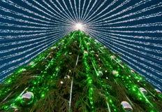 Χριστουγεννιάτικο δέντρο τις γιρλάντες που εγκαθίστανται με στην πλατεία Vilnius στην εμφάνιση Στοκ Εικόνες