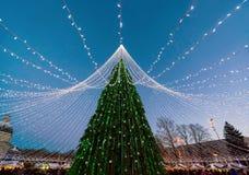 Χριστουγεννιάτικο δέντρο τις γιρλάντες που εγκαθίστανται με στην πλατεία Vilnius κατά τη διάρκεια της εμφάνισης Στοκ εικόνες με δικαίωμα ελεύθερης χρήσης
