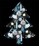 Χριστουγεννιάτικο δέντρο των παιχνιδιών, της μαύρης, μπλε και άσπρης, διανυσματικής απεικόνισης διανυσματική απεικόνιση