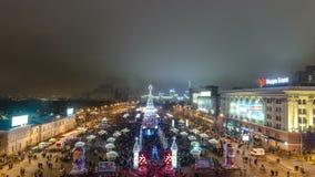 Χριστουγεννιάτικο δέντρο timelapse πριν από το πυροτέχνημα, Kharkov, Ουκρανία απόθεμα βίντεο
