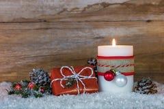 Χριστουγεννιάτικο δώρο και φως ιστιοφόρου Στοκ Εικόνες