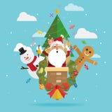 Χριστούγεννα Άγιος Βασίλης και διάνυσμα χιονανθρώπων ελεύθερη απεικόνιση δικαιώματος