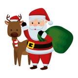 Χριστούγεννα Άγιος Βασίλης με τον τάρανδο ελεύθερη απεικόνιση δικαιώματος