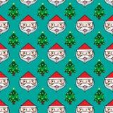 Χριστούγεννα Άγιος Βασίλης και άνευ ραφής σχέδιο δέντρων πεύκων Στοκ Φωτογραφίες
