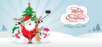 Χριστούγεννα, Άγιος Βασίλης και φίλοι Selfie, σκηνή χιονιού Απεικόνιση αποθεμάτων
