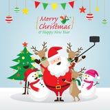 Χριστούγεννα, Άγιος Βασίλης και φίλοι Selfie Στοκ Εικόνα
