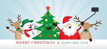 Χριστούγεννα, Άγιος Βασίλης και φίλοι Selfie Απεικόνιση αποθεμάτων