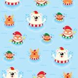 Χριστούγεννα άνευ ραφής Άγιος Βασίλης και φίλοι Στοκ Εικόνες