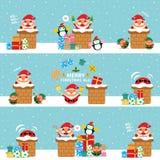 Χριστούγεννα άνευ ραφής Άγιος Βασίλης και φίλοι Στοκ Φωτογραφίες