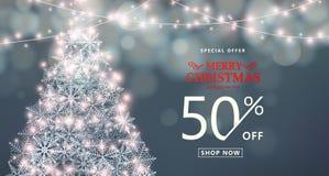 Χριστούγεννα, έμβλημα πώλησης καλής χρονιάς Ειδική προσφορά, κείμενο τύπων έκπτωσης διανυσματική απεικόνιση