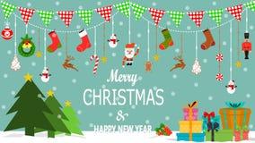 Χριστούγεννα ή νέα τέχνη διακοπών έτους επίσης corel σύρετε το διάνυσμα απεικόνισης Ευχετήριες κάρτες, αφίσα ή έμβλημα στοκ εικόνα με δικαίωμα ελεύθερης χρήσης