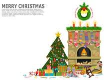 Χριστούγεννα ή νέα τέχνη χαιρετισμού έτους, κάρτα, αφίσα ή έμβλημα στοκ εικόνα