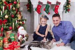 Χριστούγεννα ή νέος εορτασμός έτους Παιχνίδι πατέρων και κορών με τη γάτα κοντά στο χριστουγεννιάτικο δέντρο happy holidays Στοκ φωτογραφίες με δικαίωμα ελεύθερης χρήσης