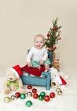 Χριστούγεννα ανασκόπησης μωρών που απομονώνονται πέρα από το λευκό Στοκ Φωτογραφία