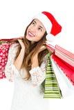 Χριστούγεννα ανασκόπησης που απομονώνονται πέρα από την ψωνίζοντας λευκή γυναίκα Στοκ φωτογραφίες με δικαίωμα ελεύθερης χρήσης