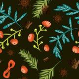 Χριστούγεννα ανασκόπησησ Βοτανικό σχέδιο κεραμιδιών Το διάνυσμα επεξήγησε την κεραμωμένη ταπετσαρία Διακοσμητική σύσταση εγγ διανυσματική απεικόνιση