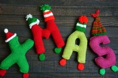 Χριστούγεννα, αλφάβητο Χριστουγέννων, χειροποίητος, πλεκτό, noel δώρο Στοκ Φωτογραφίες