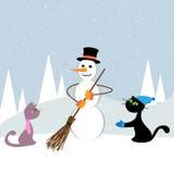 Χριστούγεννα γατών καρτών Στοκ Εικόνες