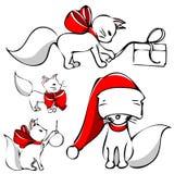 Χριστούγεννα γατών χαριτω Στοκ Φωτογραφία