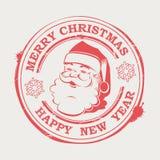 Χριστούγεννα γύρω από το γραμματόσημο με Άγιο Βασίλη με το κείμενο και snowflakes, διανυσματική απεικόνιση
